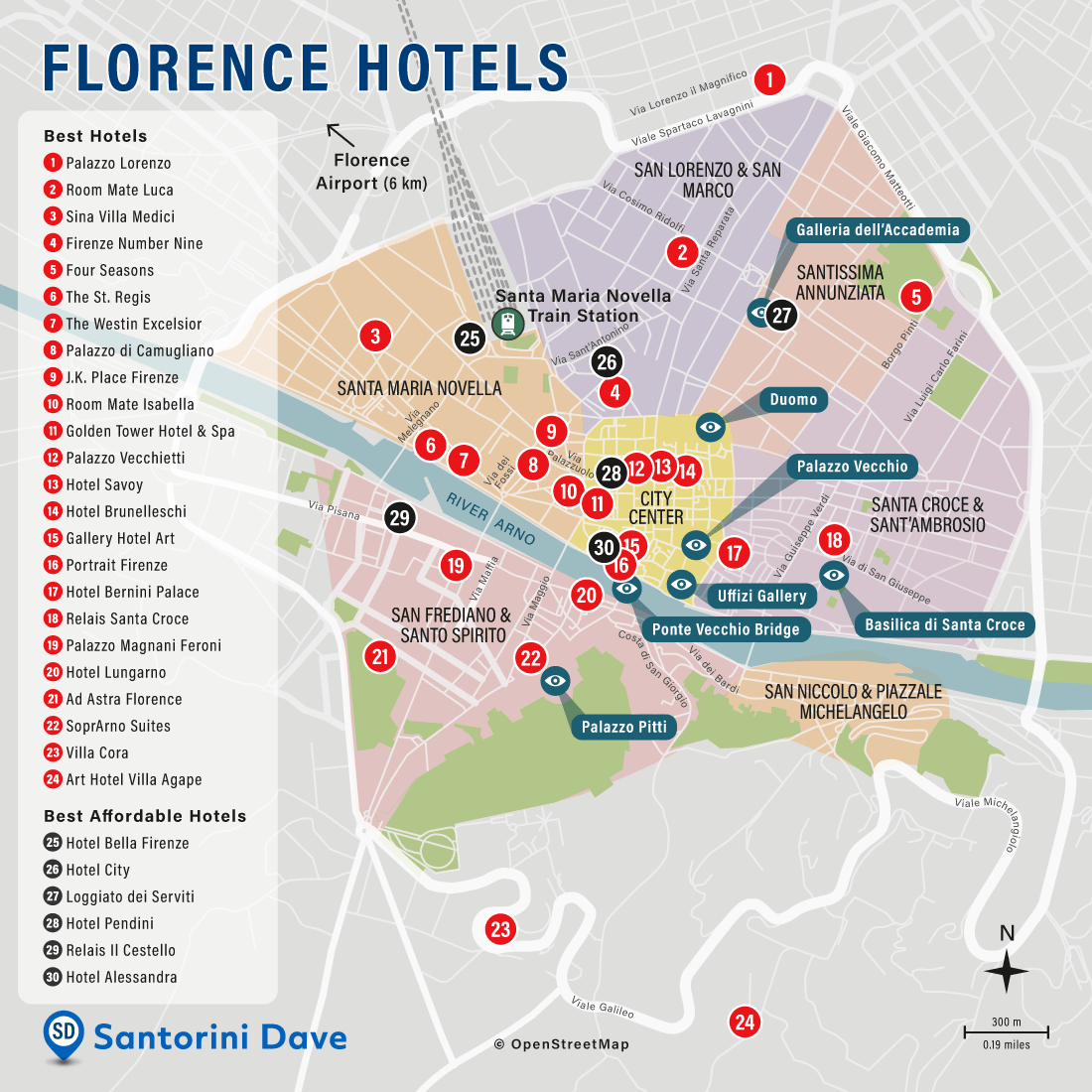 Map of Flrorence best hotels and neighborhoods.