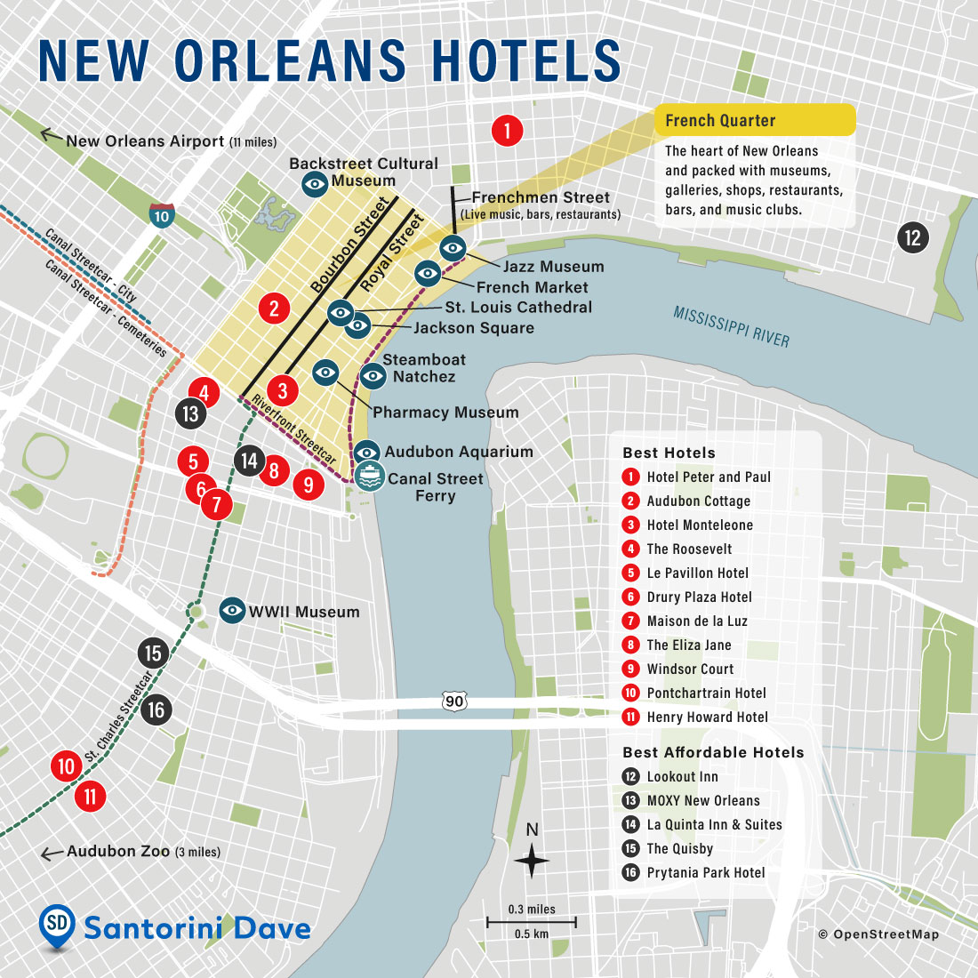 Map of Best Hotels and Neighborhoods in New Orleans, Louisiana.