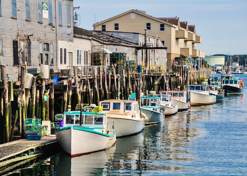 Lobster boats at the Old Port in Portland, Maine