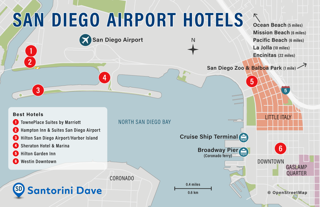 Map of San Diego Airport Hotels