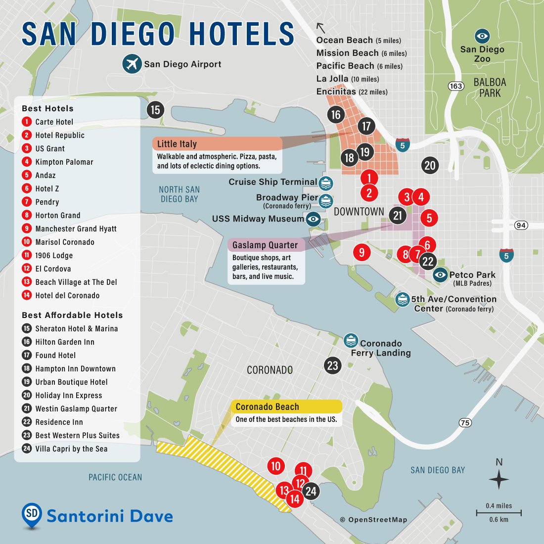 Map of Downtown San Diego Hotels and Neighborhoods.