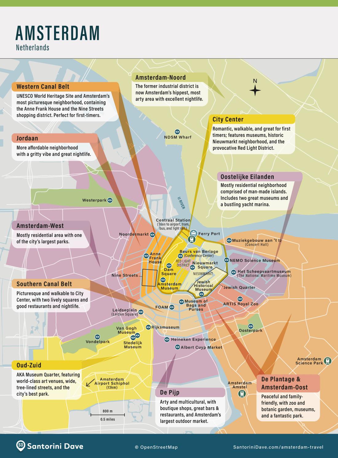 Map of Amsterdam, Netherlands.