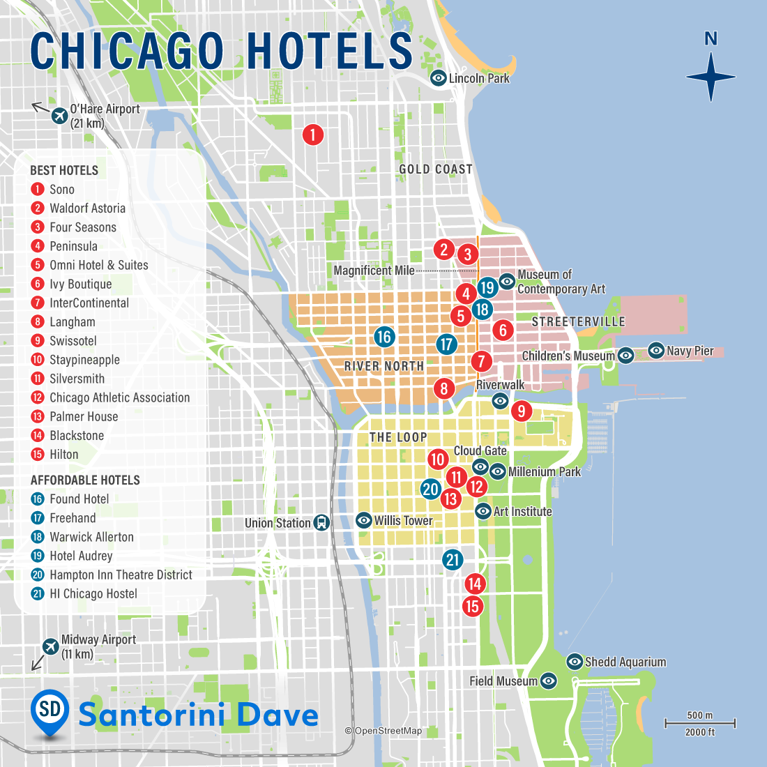 Map of Chicago Hotels and Neighborhoods.