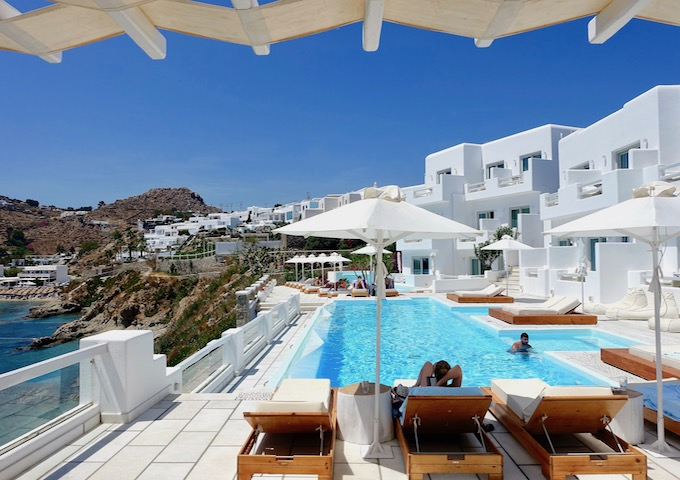 The main pool and view from Nissaki Boutique Hotel in Platis Gialos, Mykonos