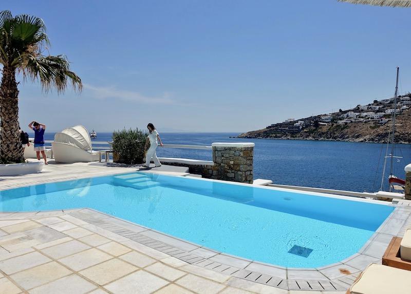 Sea view from the semi-private pool at Nissaki, Platis Gialos, Mykonos