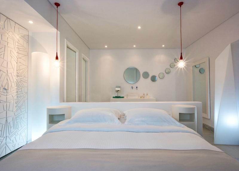 A bedroom in the Galaxy Pool Villa at Petasos Beach Resort in Mykonos