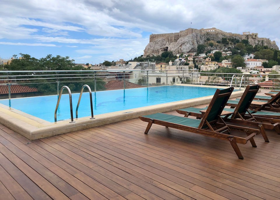Hotel in Athens with view of Acropolis and Parthenon.