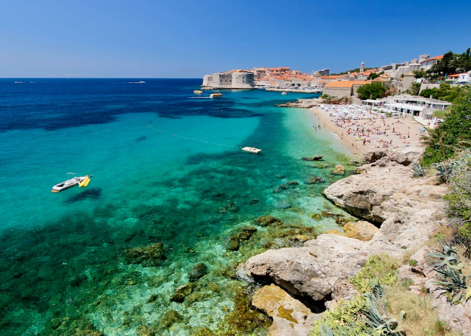 Hotels on beach near Dubrovnik Old Town.