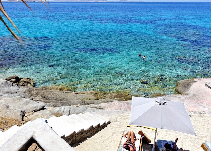 The private beach of Anax Resort in Mykonos