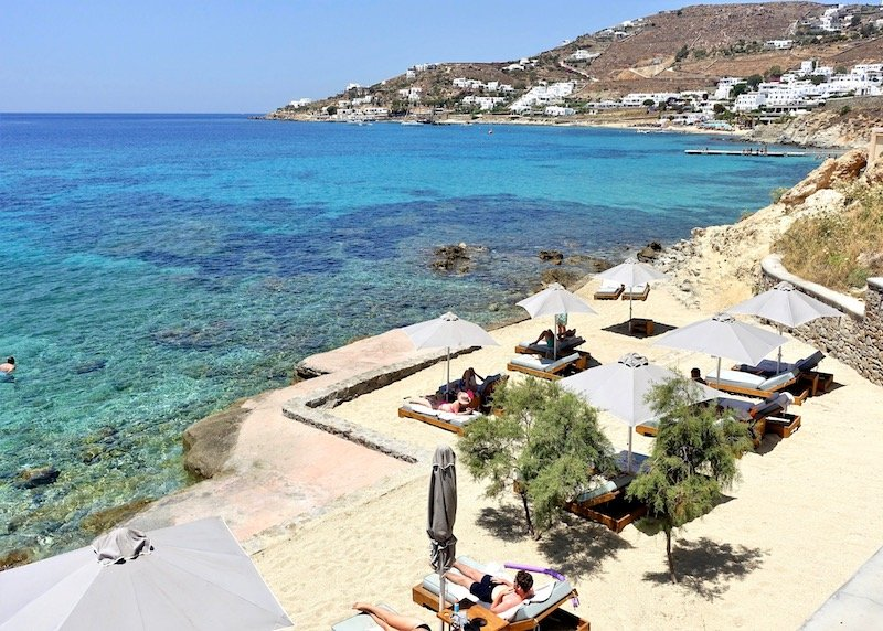 The beach at Anax Resort and Spa in Agios Ioannis, Mykonos