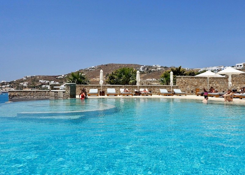 Alternate angle on the second pool at Anax Resort in Agios Ioannis, Mykonos.