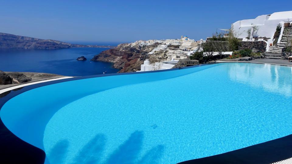 Pool and view at Perivolas Resort in Oia, Santorini.