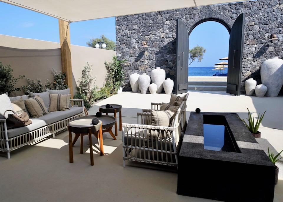 Beach hotel in Santorini, Greece.