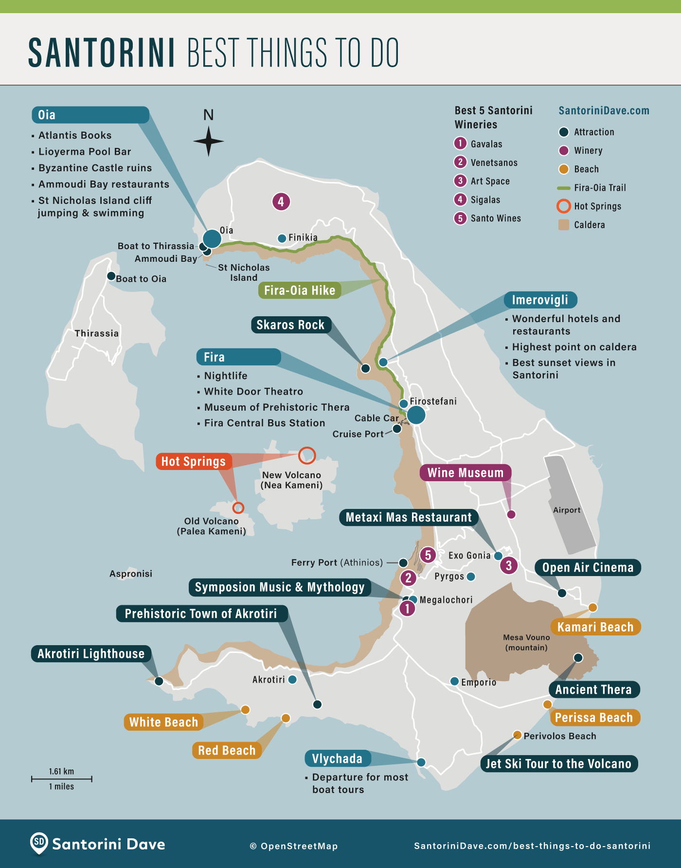 Map showing the locations of the best towns and top activities on Santorini, Greece