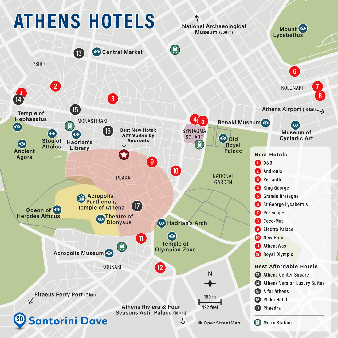 Map of Athens, Greece Hotels and Neighborhoods.