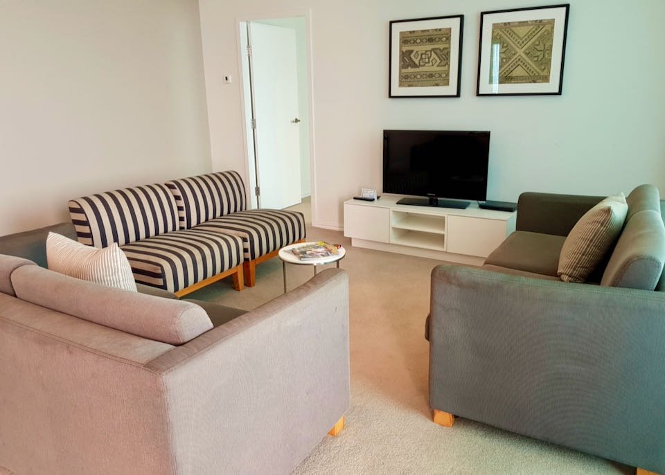 Apartments have spacious living areas.
