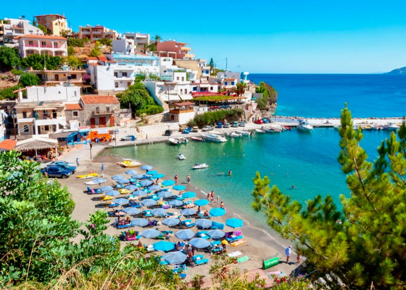 Small towns and beaches in Crete with rented car.