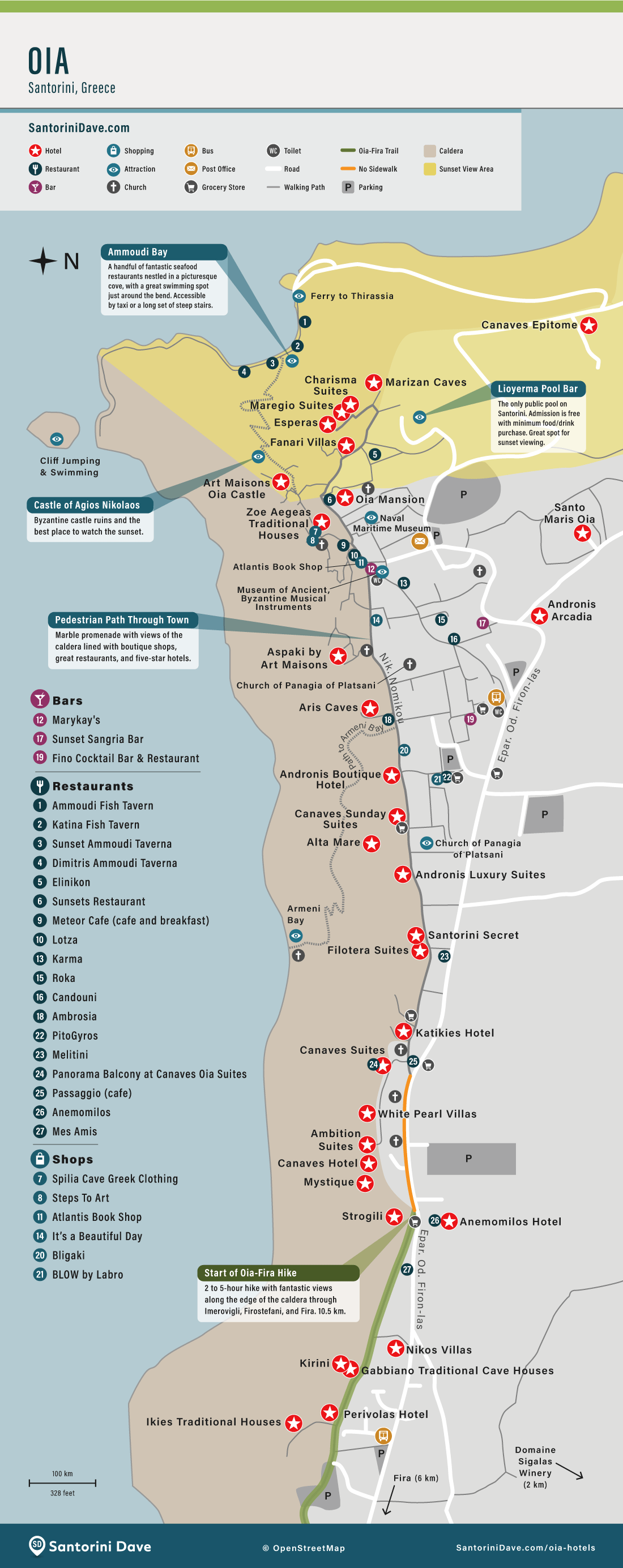 Map showing the location of the best hotels in Oia, Santorini