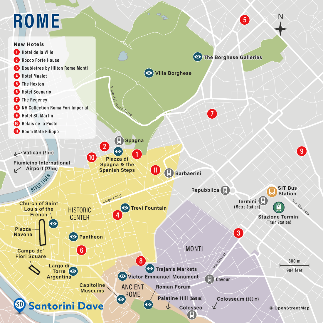 Map showing the locations of the best new hotels in Rome, Italy