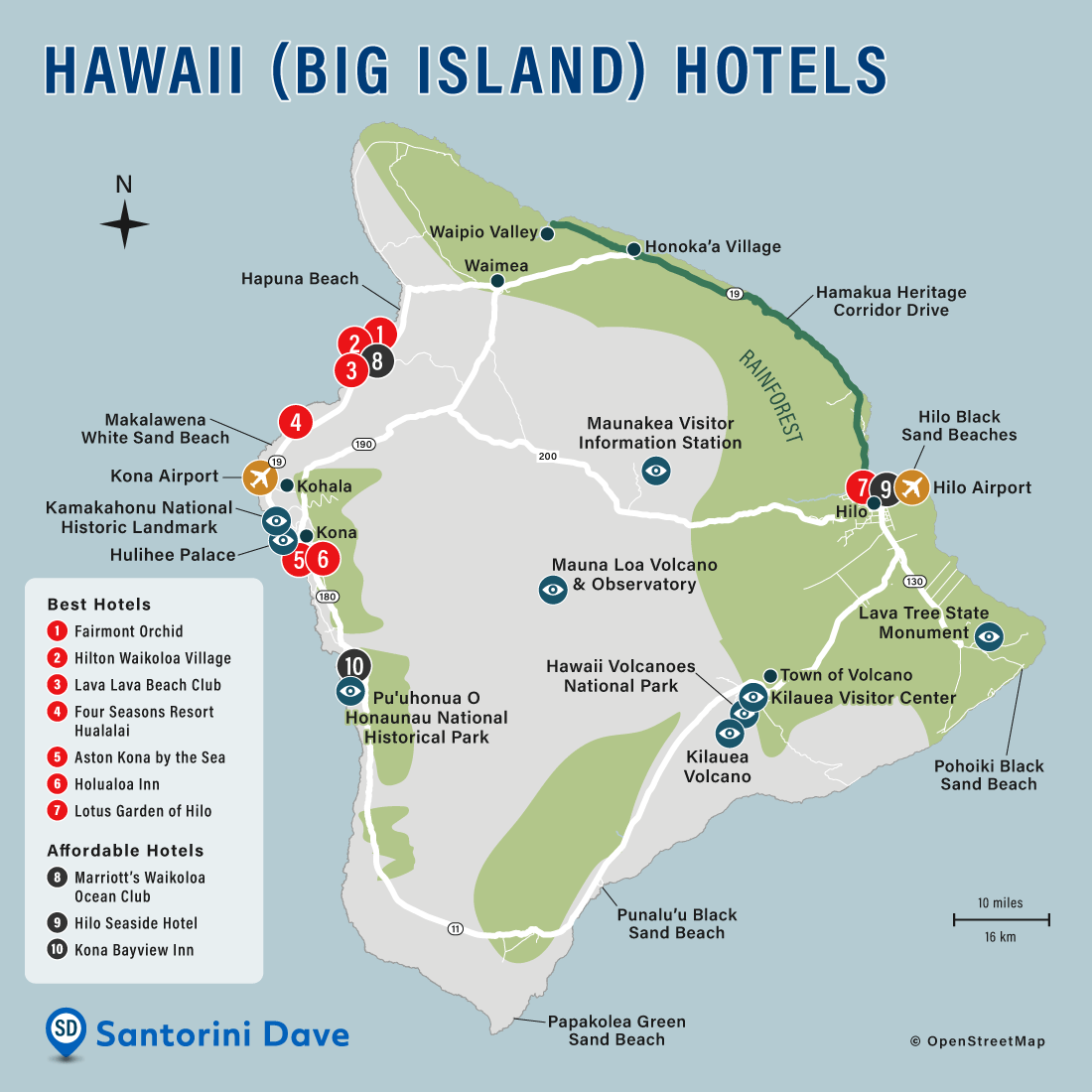 Map of Big Island Hotels, Towns, and Beaches.