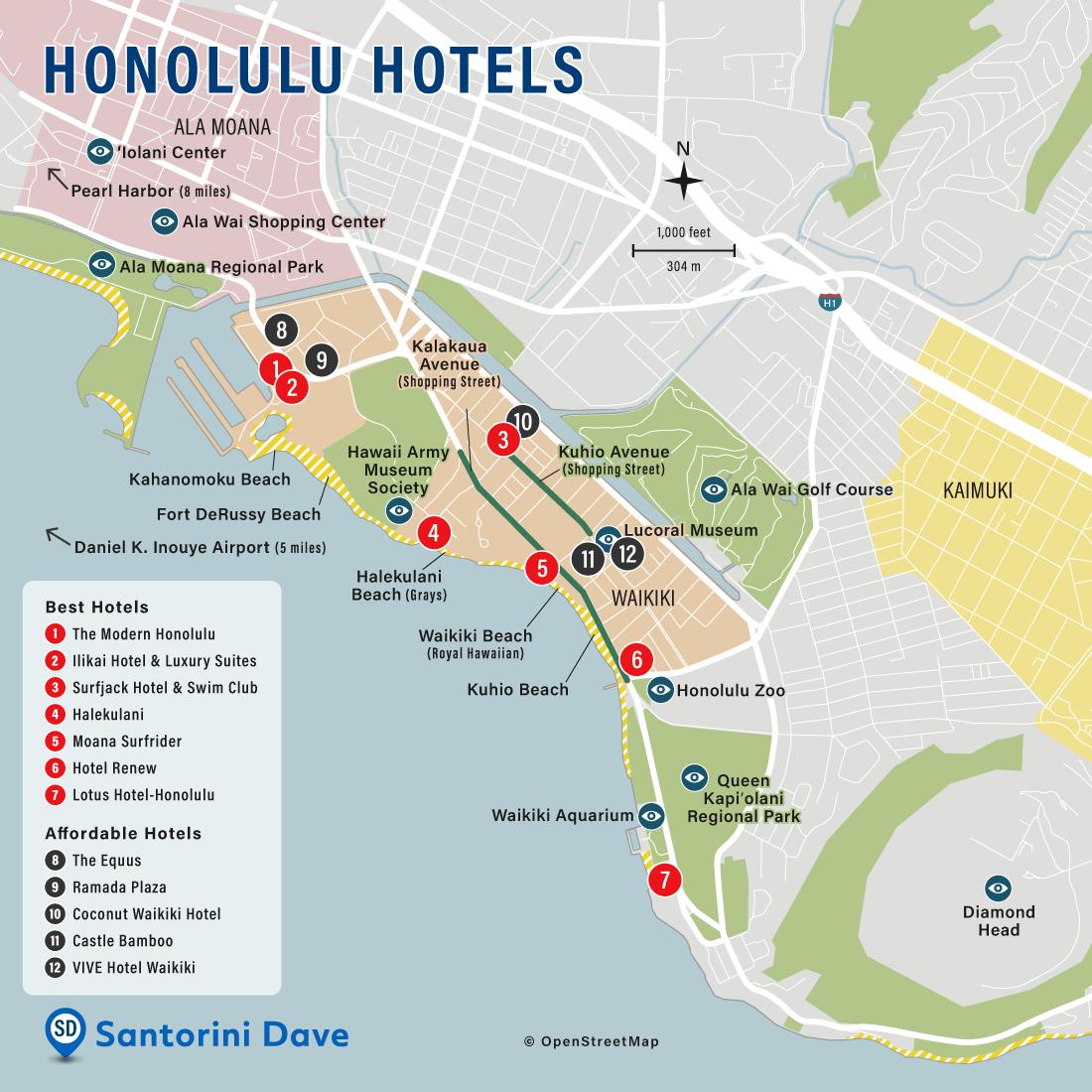 Map of Honolulu Hotels and Neighborhoods.