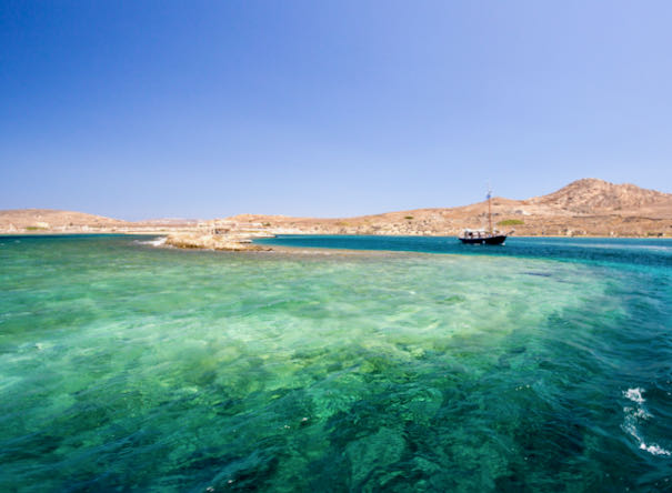 Best yacht cruise of Mykonos and Delos beaches, swimming, and snorkeling.