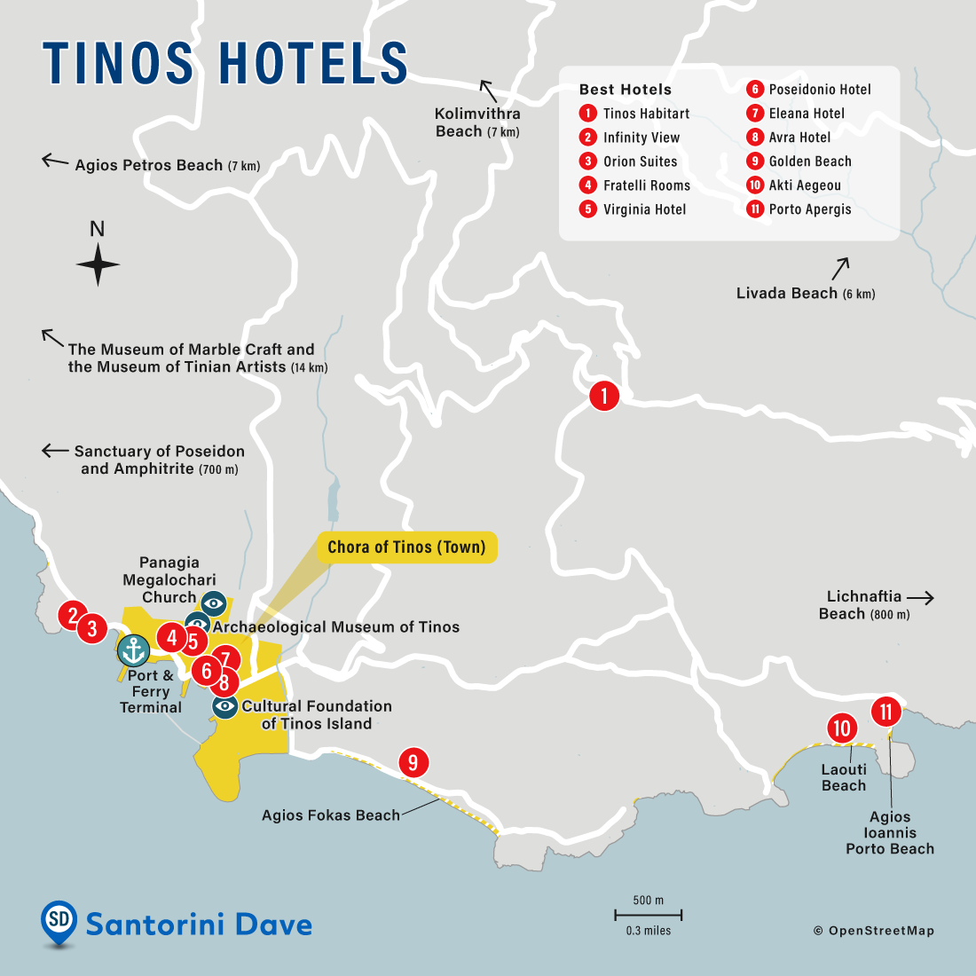 Map of best hotels, beaches, and things to do in Tinos, Greece