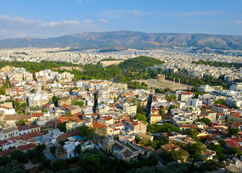 View of nearby neighborhoods from the Acropolis.