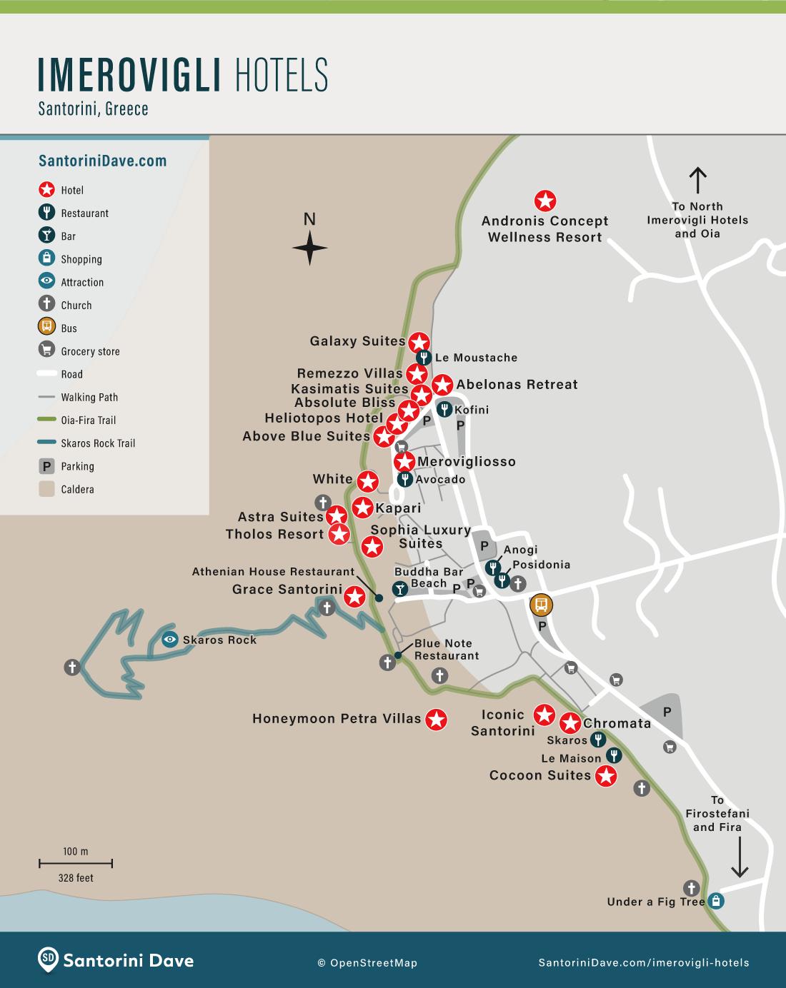 Map of the Best Hotels in Imerovigli, Santorini