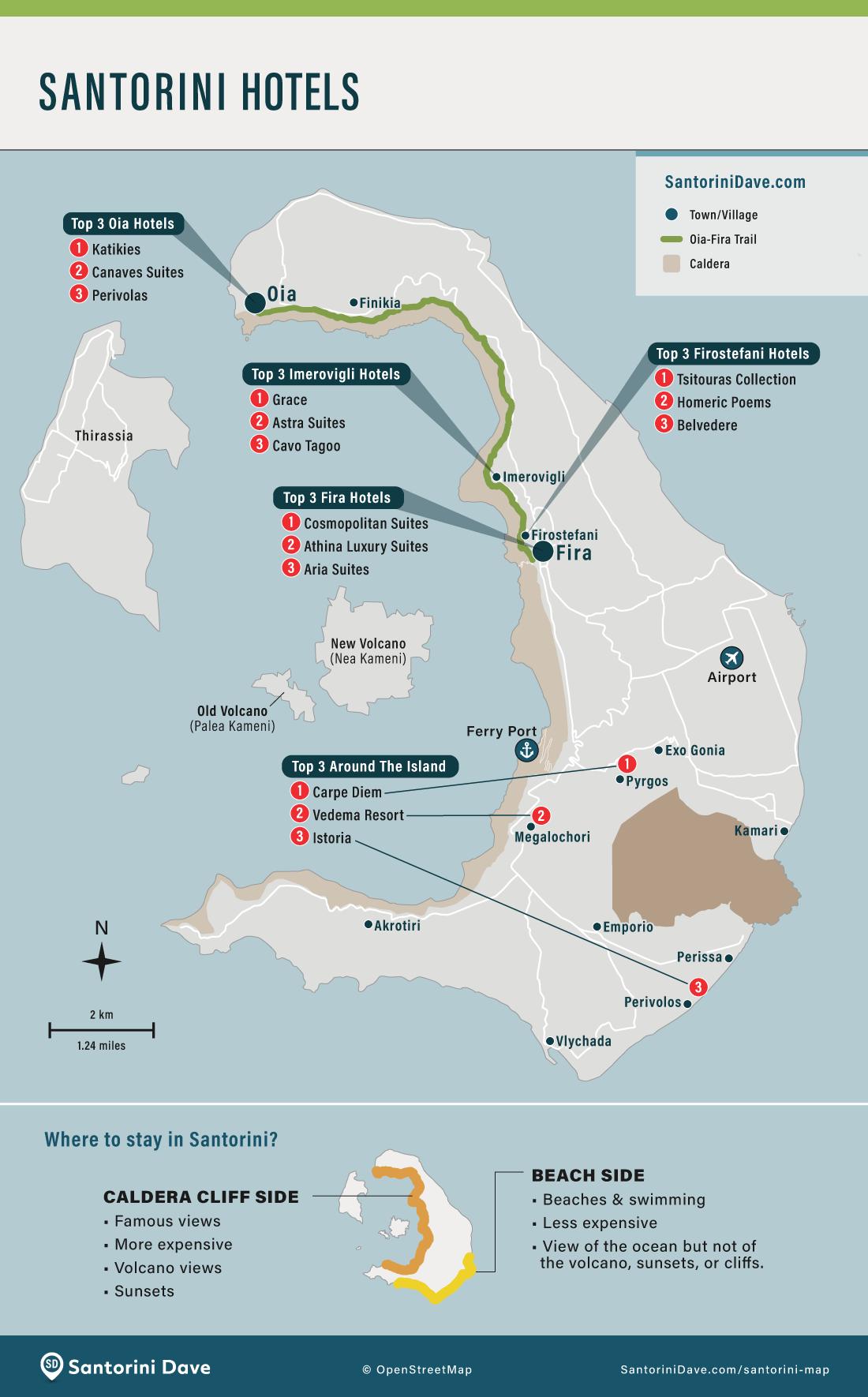 The top three hotels in Oia, Fira, Imerovigli, Firostefani, and around the island of Santorini.