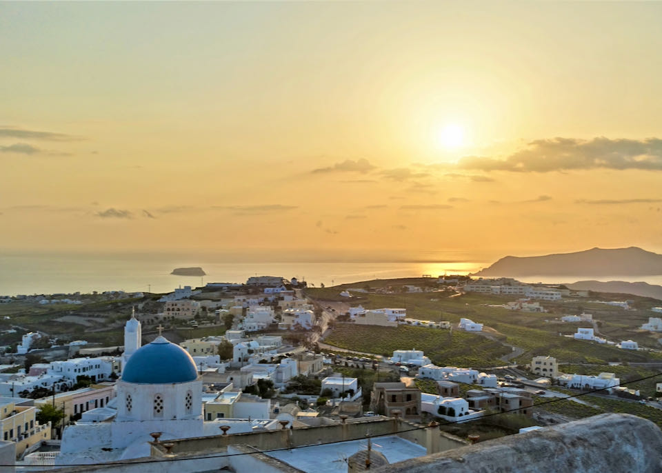 View over Santorini to the sea from the hilltop village of Pyrgos