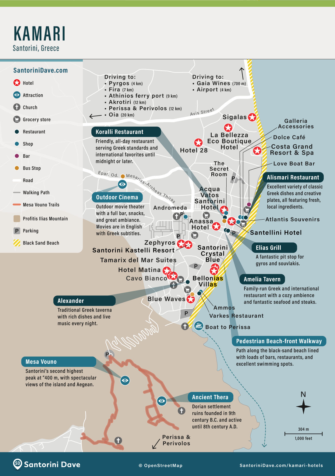 Map of the best Hotels, restaurants, bars, and shops in Kamari, Santorini.