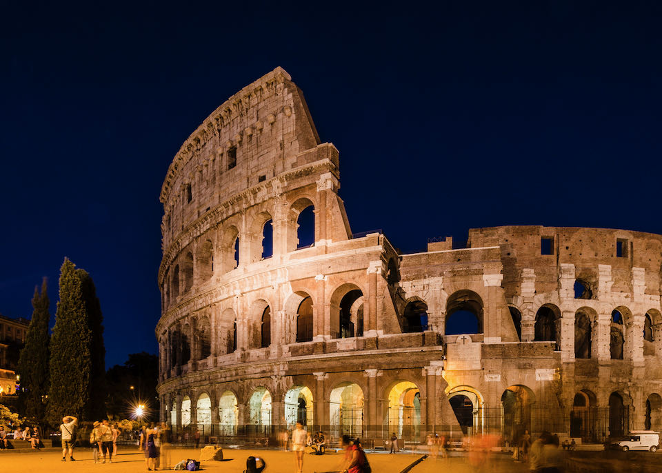 The Roman Colosseum lit from below at night