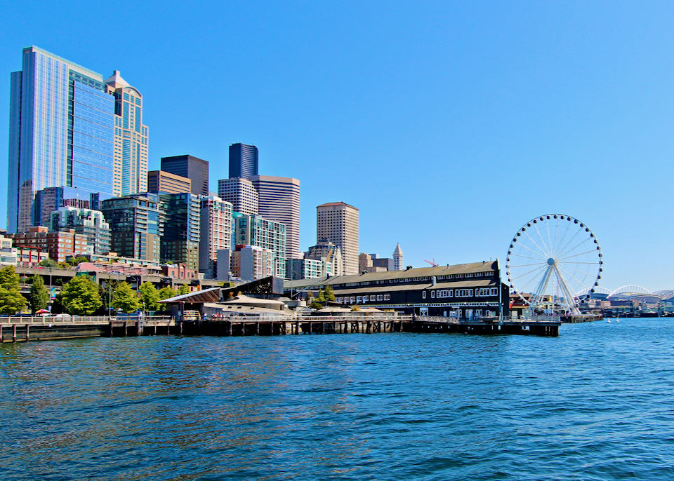 Seattle waterfront and downtown hotels.