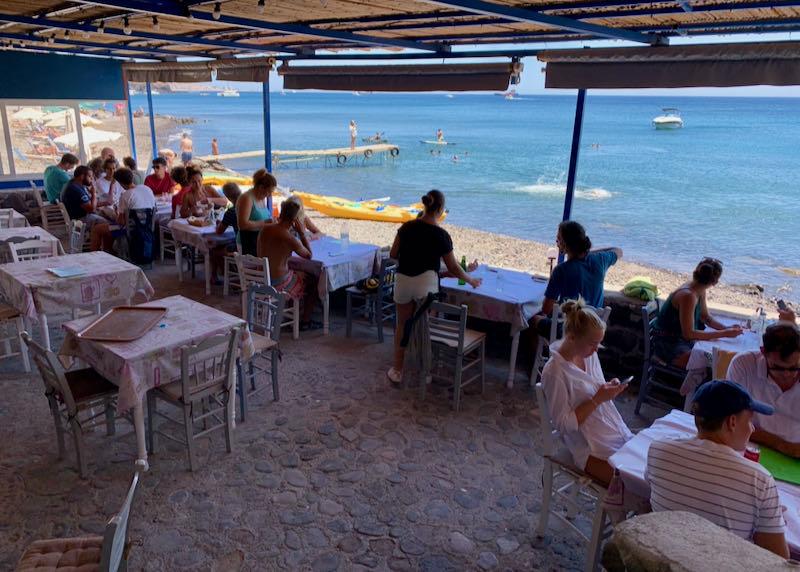 Tables and views at Kambia Restaurant in Akrotiri