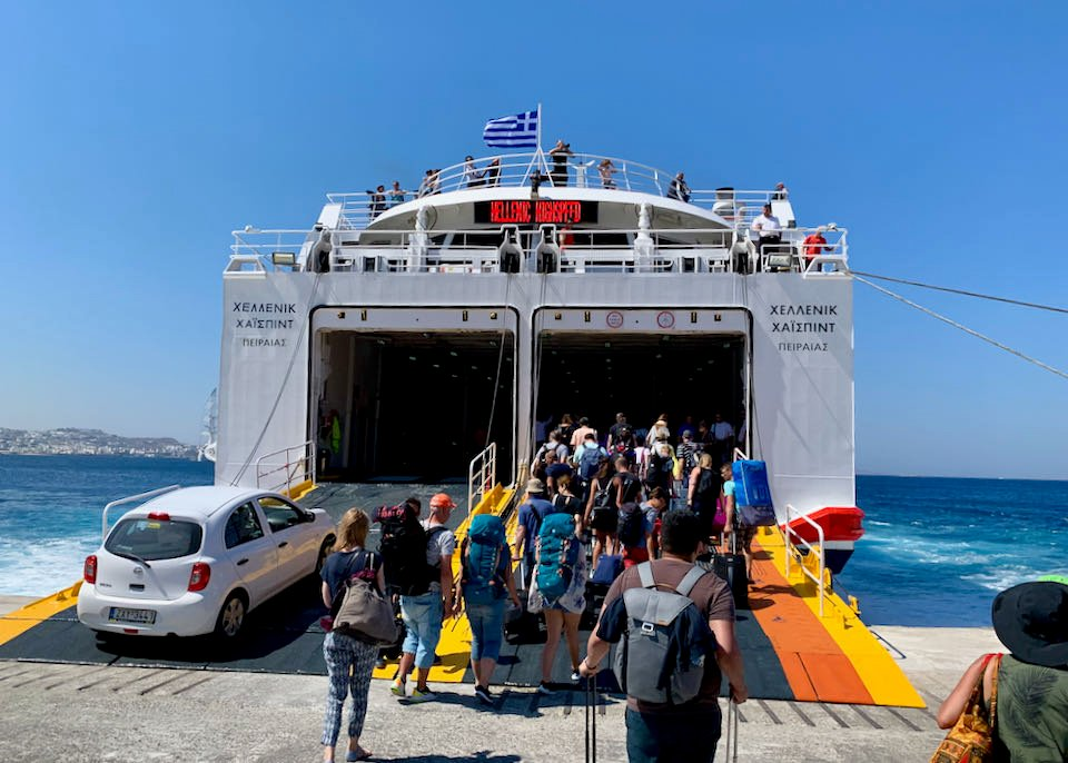 Ferry travel in Greece.