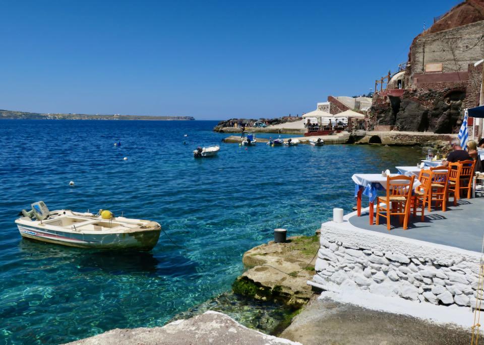 Amoudi Bay below Oia in Santorini.